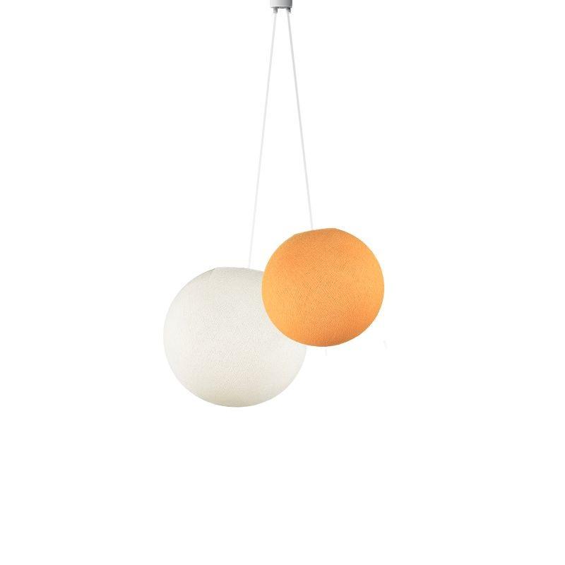 Luminaria doble globos naranja claro - marfil - Suspension double - La Case de Cousin Paul