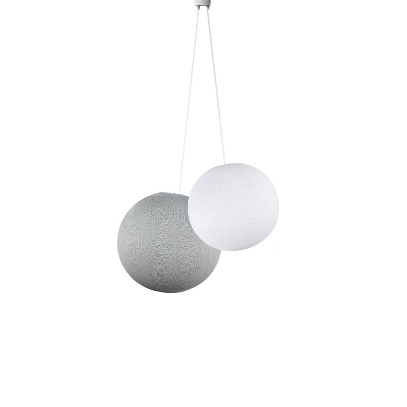 Doppio lampadario sfere bianco - perla - Suspension double - La Case de Cousin Paul