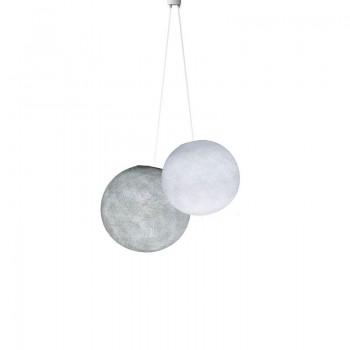 Doppio lampadario sfere bianco - perla -  Doppia sospensione - La Case de Cousin Paul