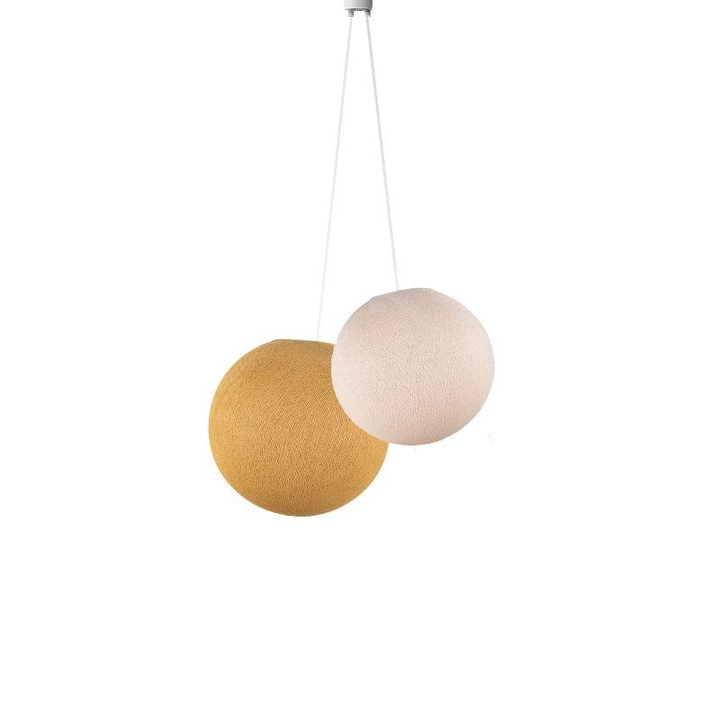 Suspension double globes lin moutarde - Suspension double - La Case de Cousin Paul