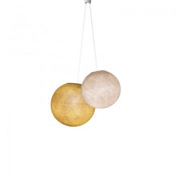 Luminaria doble globos lino - mostaza - Suspension double - La Case de Cousin Paul