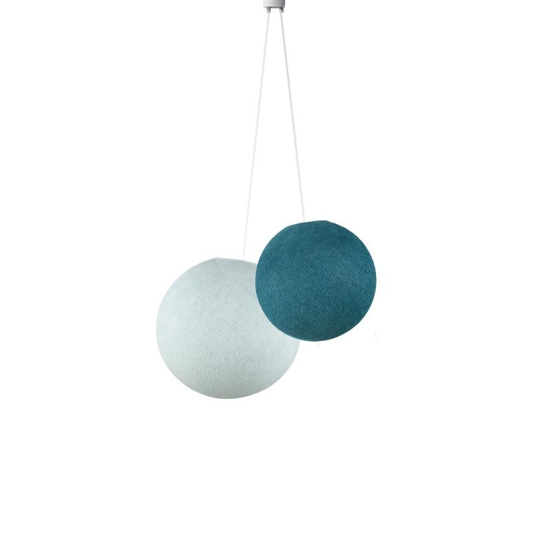 Dubbel lamp ballampen Blauwe eend - azuurblauw - Suspension double - La Case de Cousin Paul