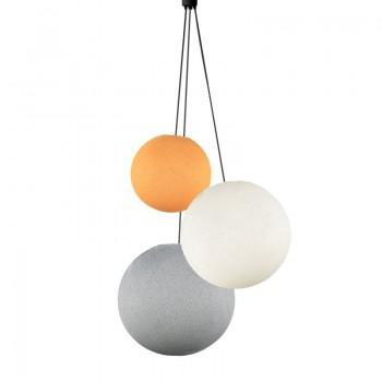 Lampadario sfere arancione chiaro - avorio - perla - Lampadario triplo - La Case de Cousin Paul