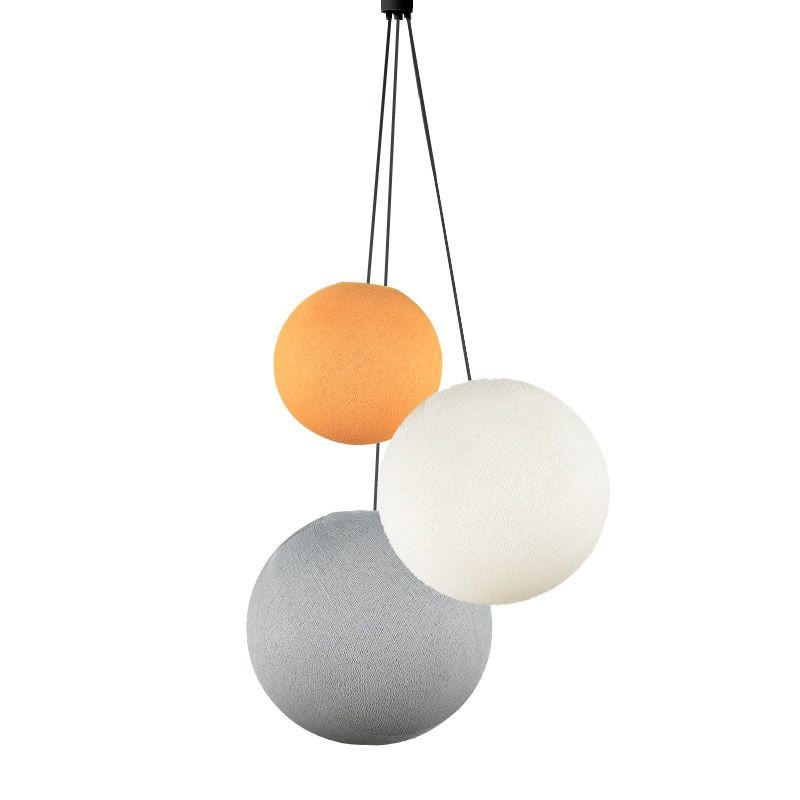 Suspension 3 globes orange clair - ivoire - perle - Suspension triple - La Case de Cousin Paul