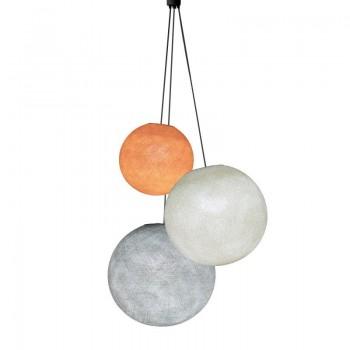 Lampadario sfere arancione chiaro - avorio - perla -  Tripla sospensione - La Case de Cousin Paul
