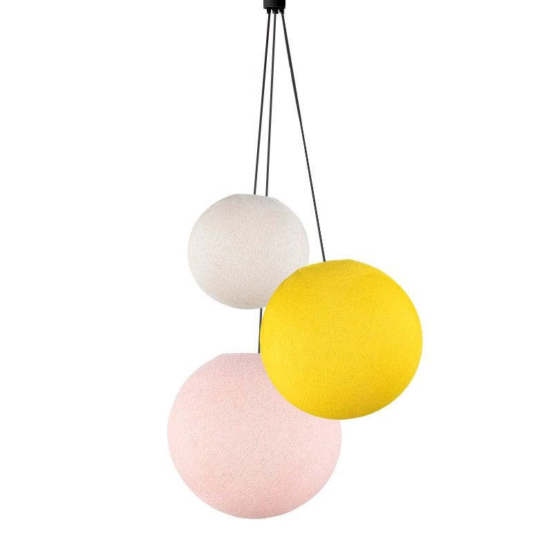 Suspension 3 globes ecru - jaune - rose poudré - Suspension triple - La Case de Cousin Paul