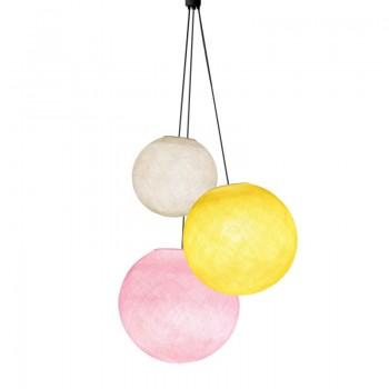 Driedubbele lamp ballampen ecru - geel - poederroze - Driedubbele lamp - La Case de Cousin Paul