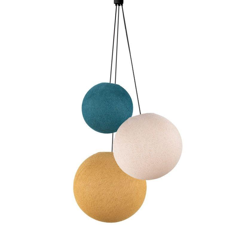 Driedubbele lamp ballampen eend - vlas - mosterd - Driedubbele lamp - La Case de Cousin Paul