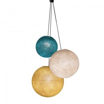 Luminaria triple globos pato - lino - mostaza - Luminaria triple - La Case de Cousin Paul