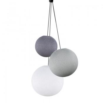 Lampadario sfere lilla - perla - bianco -  Tripla sospensione - La Case de Cousin Paul