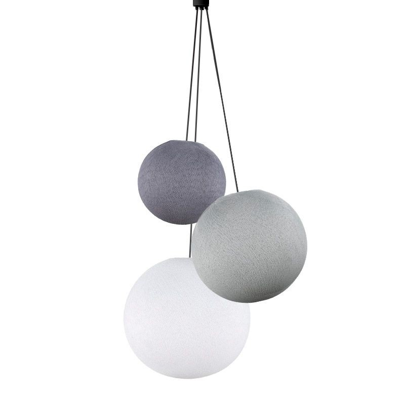 Suspension 3 globes lilas - perle - blanc - Suspension triple - La Case de Cousin Paul