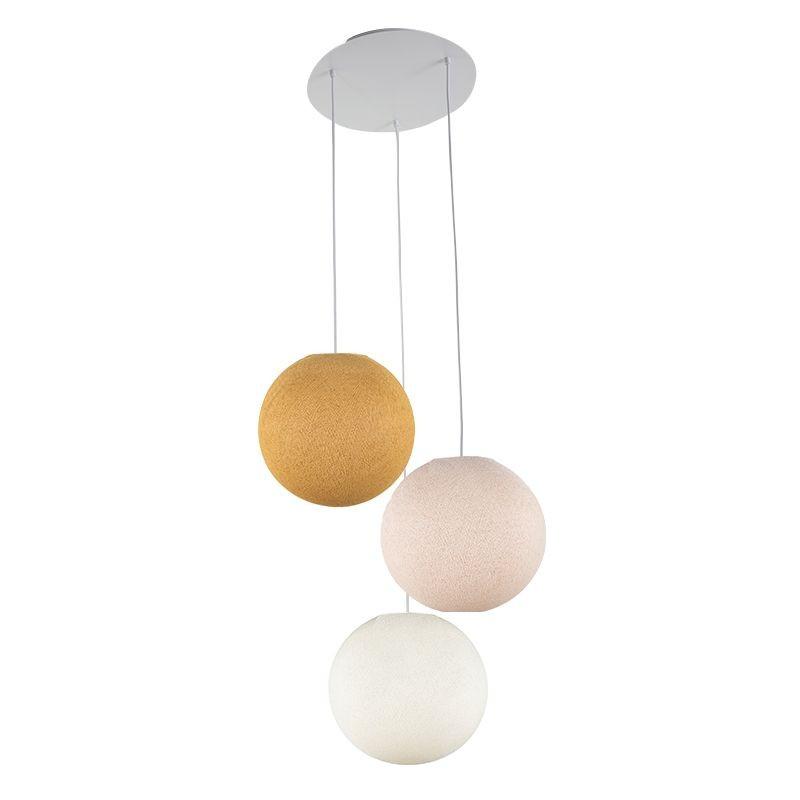 Lámpara de techo 3 globos S - Mostaza - Lino - Marfil - Plafonnier 3 - La Case de Cousin Paul