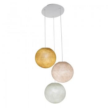 Ceiling fixture 3 globes S - Mustard - Linen - Ivory - Plafonnier 3 - La Case de Cousin Paul