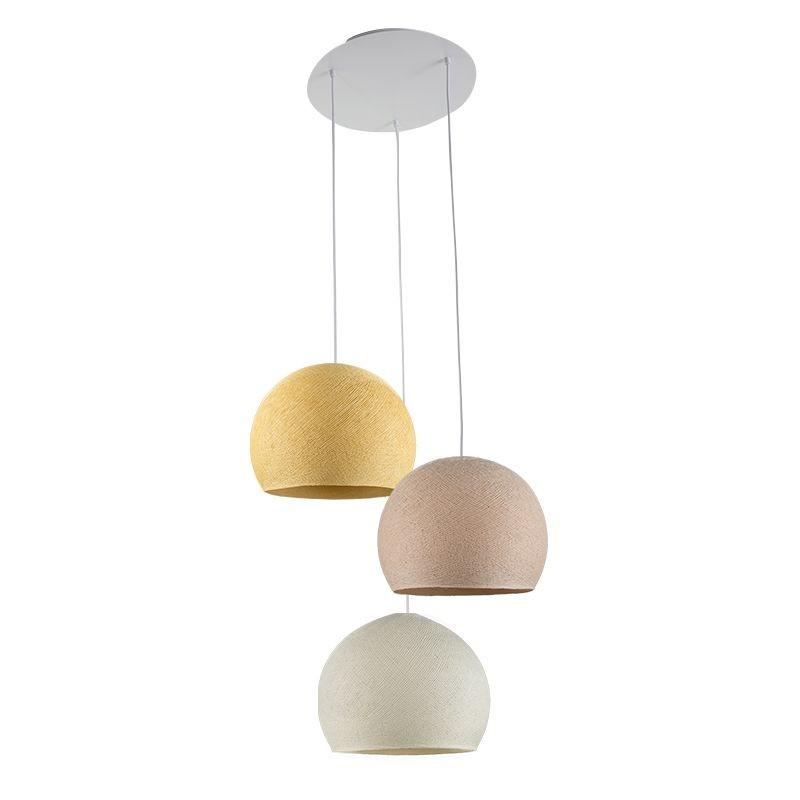 Ceiling fixture 3 cupolas S - Mustard - Linen - Ivory - Plafonnier 3 - La Case de Cousin Paul