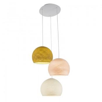 Plafondbevestiging 3 koepellamp S Mosterd - Linnen - Ivoor - Plafonnier 3 - La Case de Cousin Paul