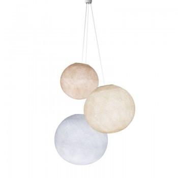 Luminaria triple globos lino-crudo-blanco - Luminaria triple - La Case de Cousin Paul