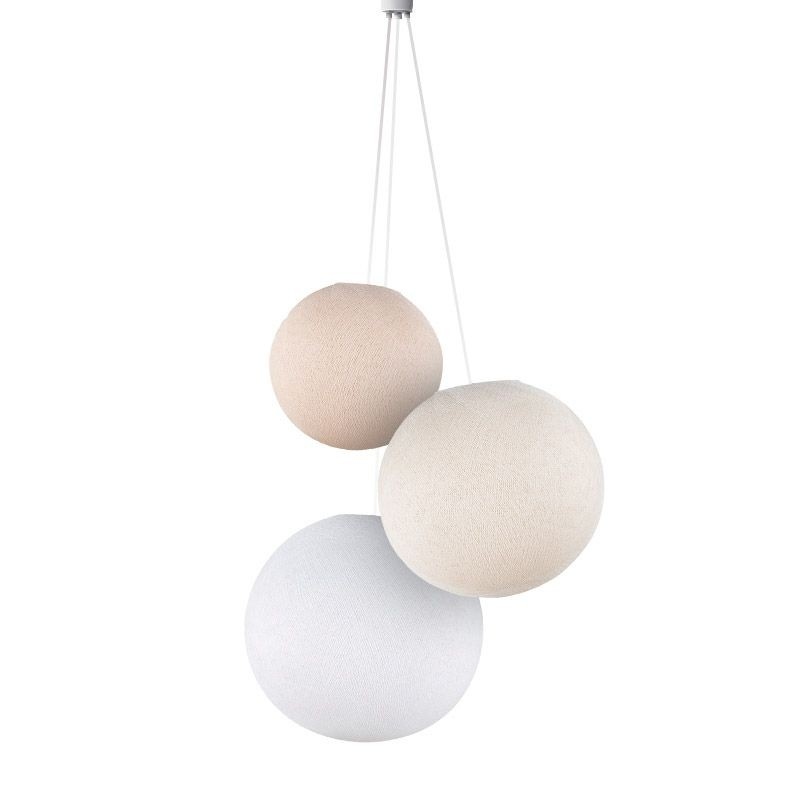 Dreifache Leuchte Globus leinen-ekrü-weiβ - Verdreifachen Hängelampe - La Case de Cousin Paul