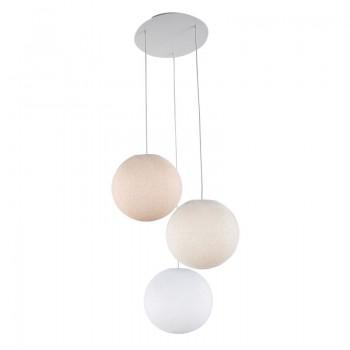 Lámpara de techo 3 globos lino-crudo-blanco - Plafonnier 3 - La Case de Cousin Paul