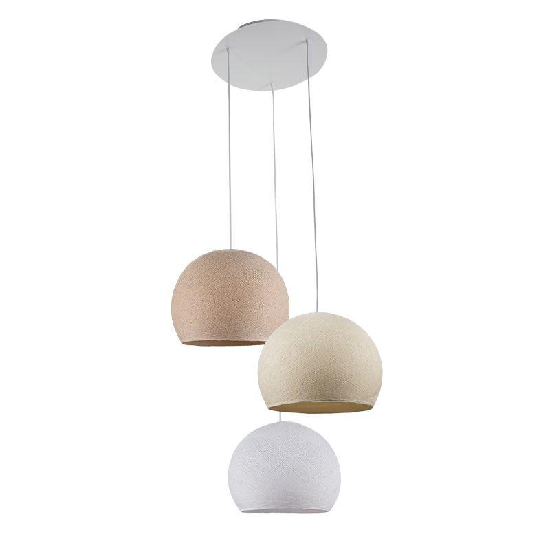 Ceiling fixture 3 cupolas S linen-ecru-white globes - Plafonnier 3 - La Case de Cousin Paul