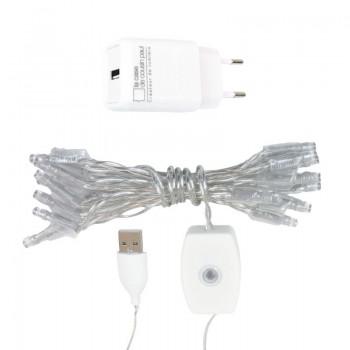 l'Original slinger met 20 lampjes LED transparant CE snoer - L'Original toebehoren - La Case de Cousin Paul