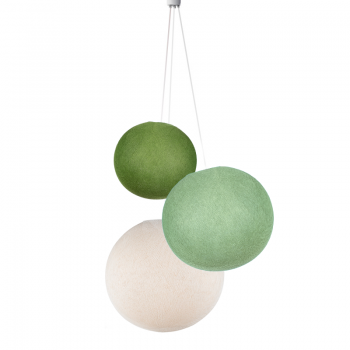 Dreifache Leuchte kugeln olivgrün-lindgrün-roh - Hängelampe dreistrahlig - La Case de Cousin Paul