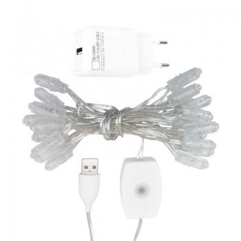 Premium slinger met 20 LED-lampjes, transparant CE snoer - Premium toebehoren - La Case de Cousin Paul