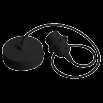 enkelvoudig ophangsysteem van zwart geweven snoer - Accessoires voor verlichting - La Case de Cousin Paul