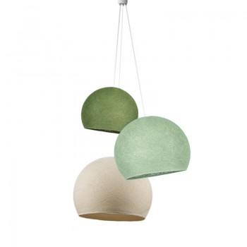 Driedubbele lamp koepellampen ecru-kalk-olifgroen - Opgehangen per drie - La Case de Cousin Paul